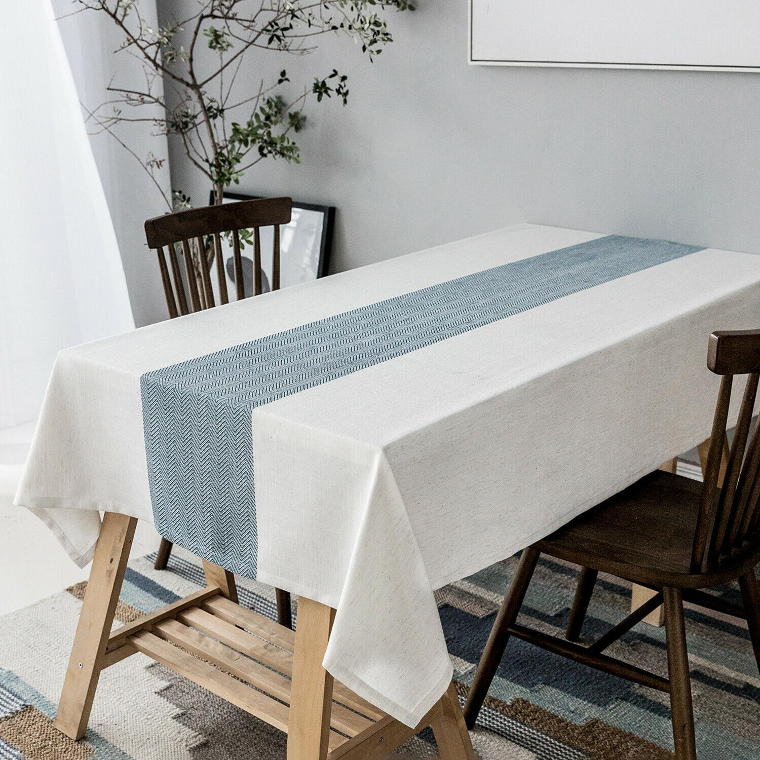Linen tablecloth,waterproof Table Cover for Tabletop Decoration