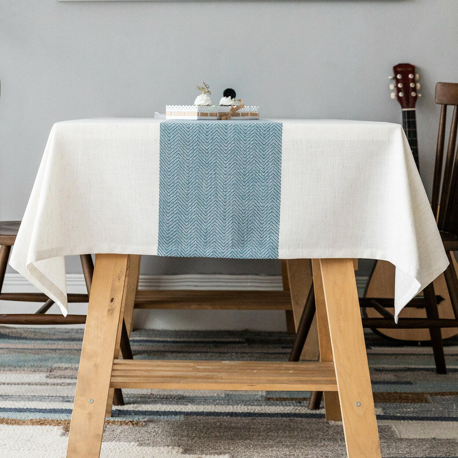 linen tablecloth waterproof table cover for kitchen