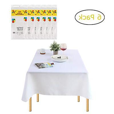 pack of 6 rectangle disposable plastic tablecloths