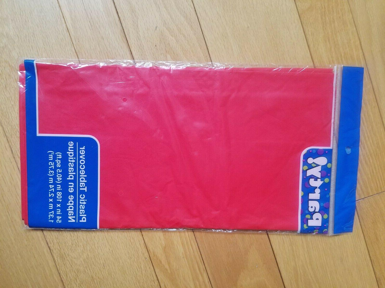 Plastic Tablecloths Red x in. Disposable