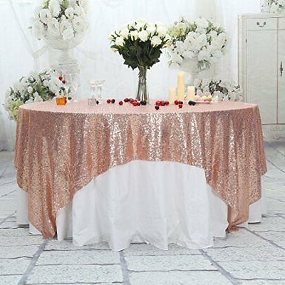 Poise3EHome 50x50 Sequin Tablecloth Cake Dessert Table