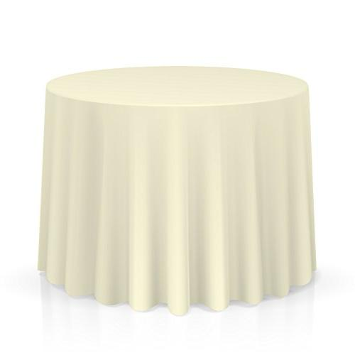 Lann's Polyester Tablecloth Wedding, use Round, Ivory