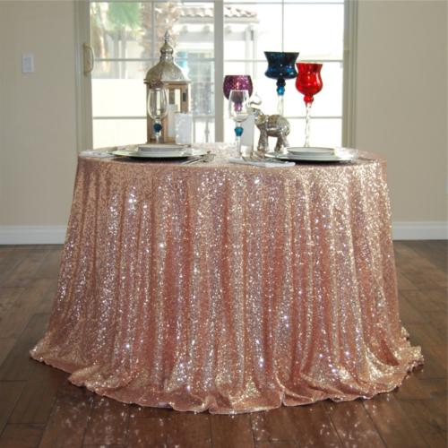 GFCC Rose Gold 72'' Round Sequin Tablecloth Christmas Table