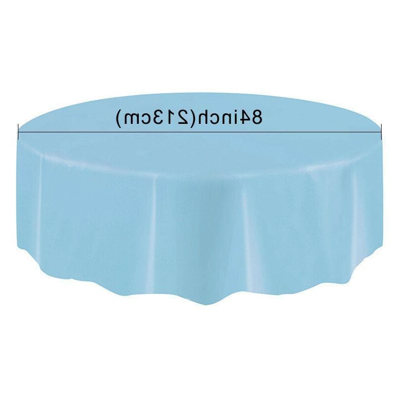 Round Solid Disposable PEVA Cloth Tableware Wedding Family