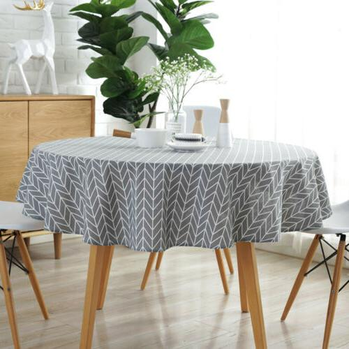 Round Table Cover Party Tablecloth Cloth Cotton Linen Cover