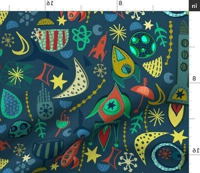 Round Tablecloth Satellite Space Stars Rockets Sateen