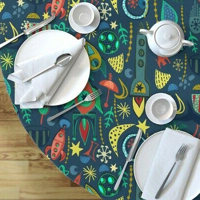 Round Tablecloth Space Stars Rockets