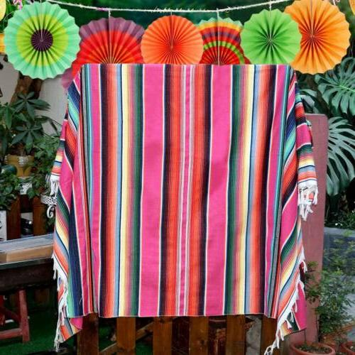 Mexican Serape Tablecloth Blanket Cotton Table Runner Home W