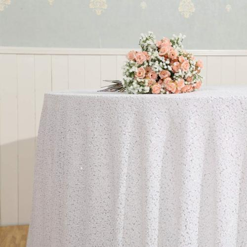 """Eternal Sequin Tablecloth, Sequin 120"""" Round, White"""