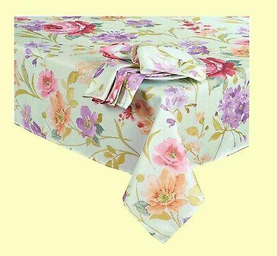 Spring Tablecloth x Rectangle Pink Flowers Fabric
