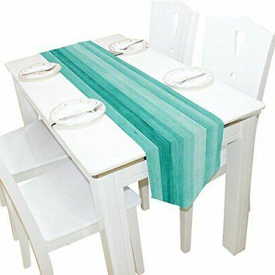 Table Runner Home Decor, Teal Turquoise Blue Wood Deck Table