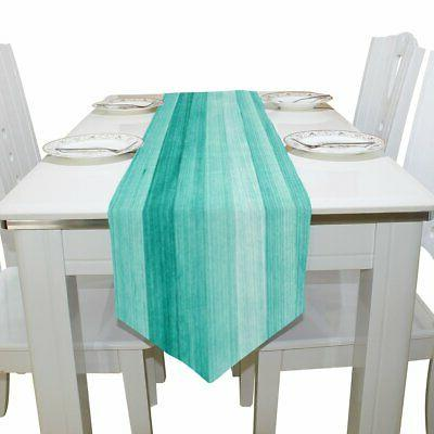 ALAZA Table Runner Decor, Teal Turquoise Blue Wood Table Runner