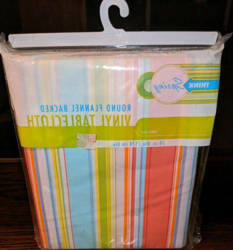 think spring 70 inch round flannel backed