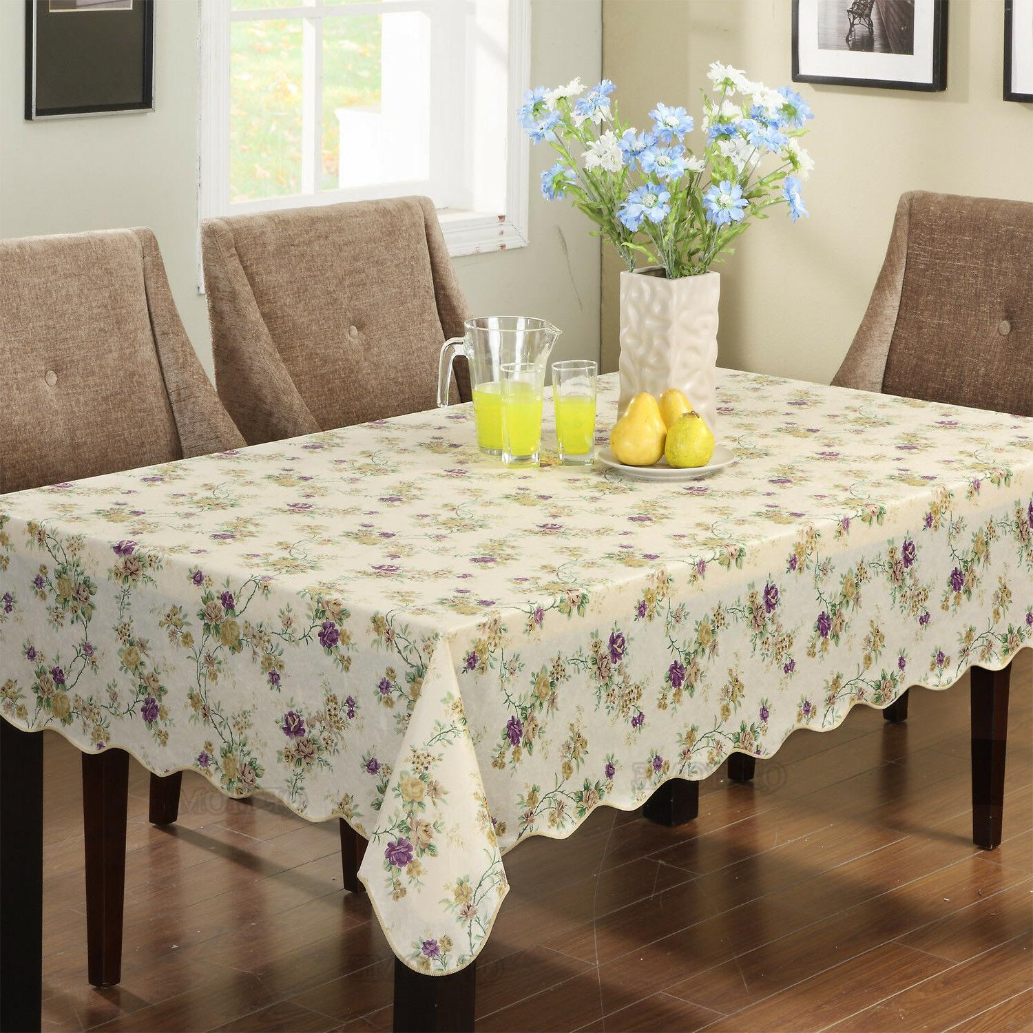 Warterproof Vinyl Tablecloth Flannel Backed Rectangle/Oblong