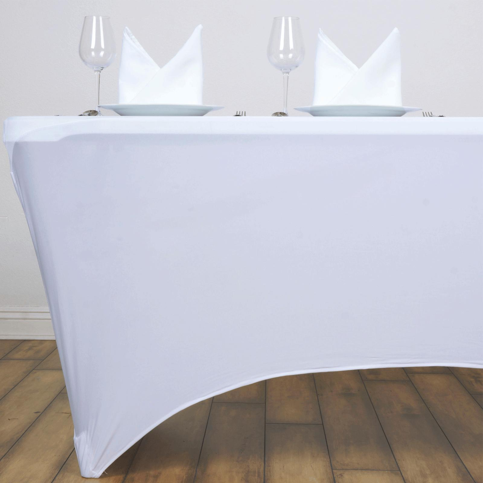 Rectangular Fitted Spandex Covers Tablecloths Wedding White