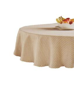 Lafayette Round Tablecloth Beige Tan 70 inches Fabric Kitche