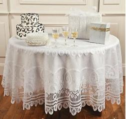 """Large round lace Tablecloth white 84""""  inch round scalloped"""