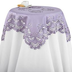 Lavender Tablecloths, Table Linens with Floral Diecut Embroi