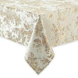 """Waterford Linens Marcelle 70""""x84"""" Oblong Tablecloth Ivory TC"""