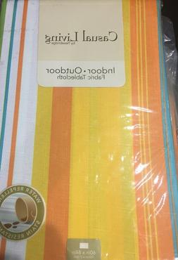 martina stripe indoor outdoor polyester tablecloth 60