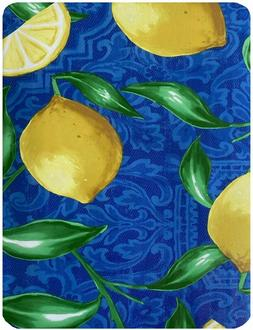 Newbridge Zest Blue and Yellow Lemon Print Vinyl Flannel Bac