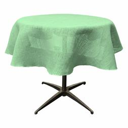 LA Linen Natural Burlap Tablecloth 58-Inch Round. Made in US