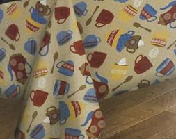 New Flannel Backed Vinyl Tablecloth Tea COFFEE Theme Cups Sp