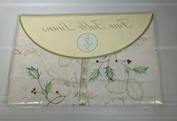 Lenox New Holiday Embroidery Antique Ecru Christmas Oval Tab