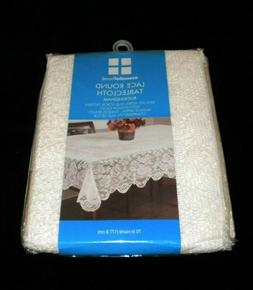 NEW IN PACKAGE BUCKINGHAM  IVORY LACE ROUND TABLECLOTH ESSEN