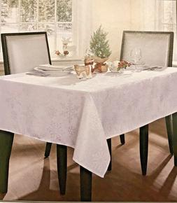 NEW Textured Snowflake WHITE Tablecloth Christmas Holiday Be
