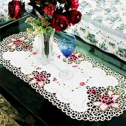 Oval Lace Tablecloth Doily Embroidered Floral Table Cover Ho