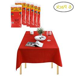 Pack of 6 Rectangle Disposable Plastic Tablecloths for Recta