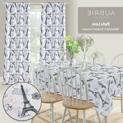 Paris Rectangle Tablecloth Kitchen Dining Table Eiffel Tower