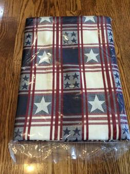 PAMPERED CHEF PATRIOTIC TABLECLOTH STARS AND STRIPES 62 X 80