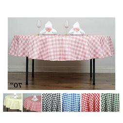 """Perfect Picnic Inspired Checkered 70"""" Round Polyester Tablec"""