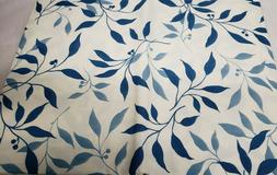 "PEVA FLANNEL BACK VINYL TABLECLOTH 52""x90""  BLUE LEAVES ON W"