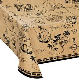 Pirate Treasure Map Plastic Tablecover Tablecloth Decoration