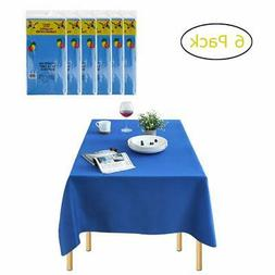 Plastic Tablecloths for Rectangle Tables - 6 Pack, Dark Blue