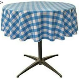 LA Linen Poly Checkered Round Tablecloth, 51-inch, Turquoise