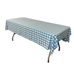 LA Linen Polyester Checkered 60 by 84-Inch Rectangular Table