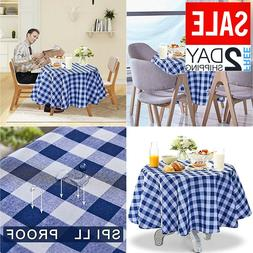 Polyester Spillproof Tablecloths for Round Tables 60 Inch In