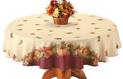 pumpkin and leaves fall harvest tablecloth