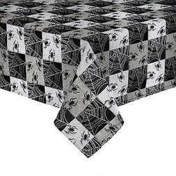 Halloween Rectangle Tablecloth Woven Grey Black Spider Web P
