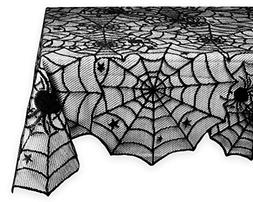 Rectangular Polyester Lace Tablecloth Black Spider Web Perfe