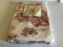 """Red 60"""" x 102"""" Toile Tablecloth"""