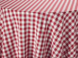 Red & White Spun Poly Royal Crest Linen Tablecloth 42-Inch S