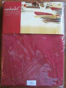 """RED OVAL TABLECLOTH 60""""X102"""" COTTON/POLYESTER BLEND NWT MANC"""