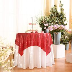 Eternal Beauty Red Square Sequin Tablecloth Sequin Overlay T