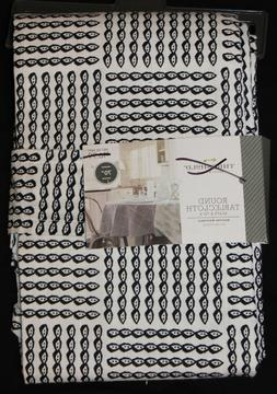 """Threshold Rope Print Round Tablecloth Navy Ivory 70"""" Cotton"""