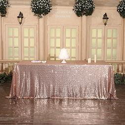 3e Home Rose Gold Sequin TableCloth for Wedding Party Bridal